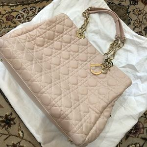 Authentic Dior tote in light pink calfskin